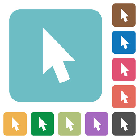 selector: Mouse cursor white flat icons on color rounded square backgrounds