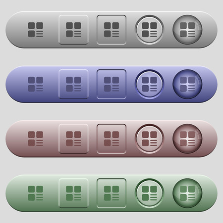 Component options icons on rounded horizontal menu bars in different colors and button styles