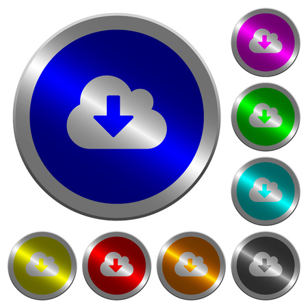 Cloud download icons on round luminous coin-like color steel buttons Illustration