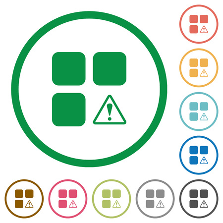 piece: Component warning flat color icons in round outlines on white background