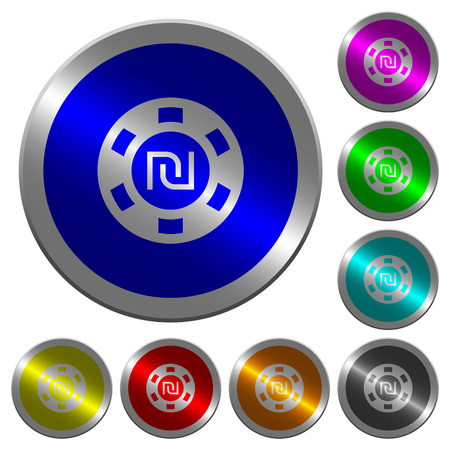 shiny buttons: New Shekel casino chip icons on round luminous coin-like color steel buttons Illustration