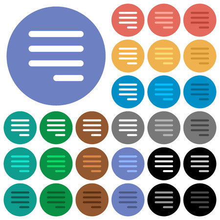 Text align justify last row right multi colored flat icons on round backgrounds. Included white, light and dark icon variations for hover and active status effects, and bonus shades on black backgounds. Ilustração