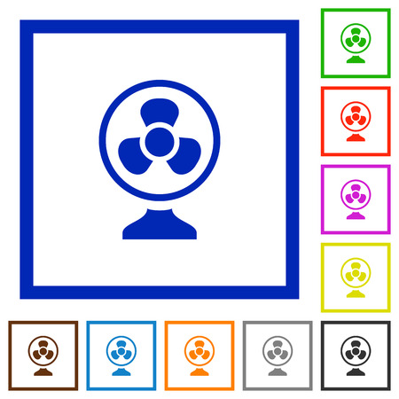 Table fan flat color icons in square frames on white background