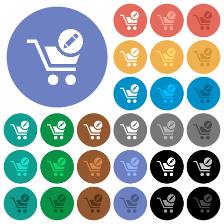 Edit cart items multi colored flat icons on round backgrounds. Included white, light and dark icon variations for hover and active status effects, and bonus shades on black backgounds. Illustration