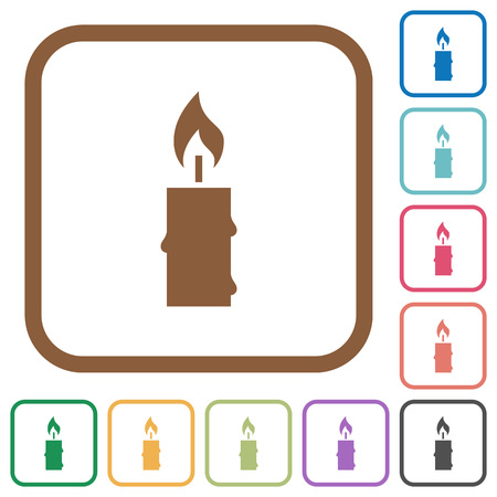 burning: Burning candle with melting wax simple icons in color rounded square frames on white background Illustration