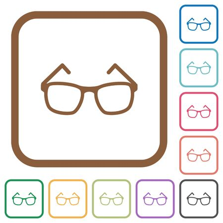 Eyeglasses simple icons in color rounded square frames on white background Illustration