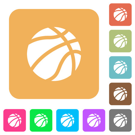 Basketball flat icons on rounded square vivid color backgrounds.