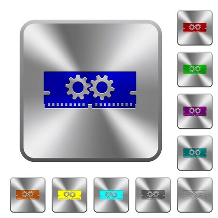 Memory optimization engraved icons on rounded square glossy steel buttons Illustration