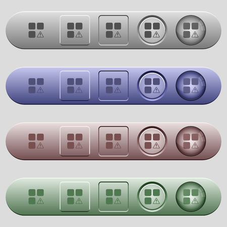Component warning icons on rounded horizontal menu bars in different colors and button styles