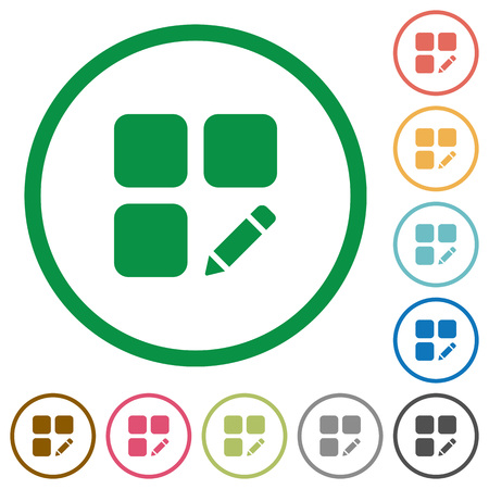 Rename component flat color icons in round outlines on white background