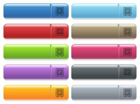 Ruble strong box engraved style icons on long, rectangular, glossy color menu buttons. Available copyspaces for menu captions. Illustration