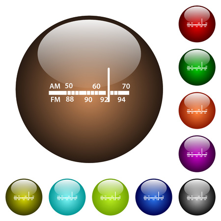 Radio tuner white icons on round color glass buttons