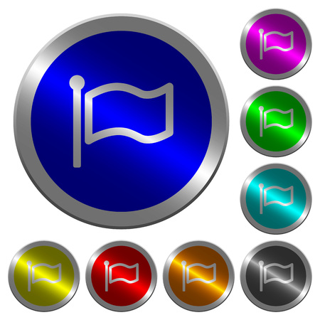 Flag icons on round luminous coin-like color steel buttons Illustration