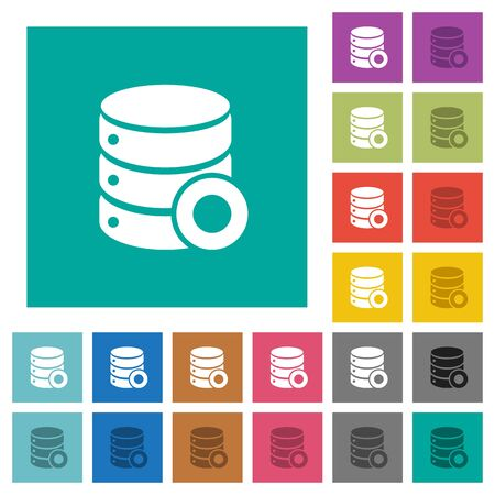 Database macro record multi colored flat icons on plain square backgrounds. Included white and darker icon variations for hover or active effects. Çizim