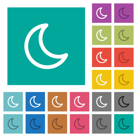 Moon shape multi colored flat icons on plain square backgrounds. Included white and darker icon variations for hover or active effects.