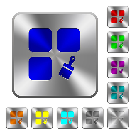 Component paste engraved icons on rounded square glossy steel buttons
