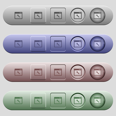 Application maintenance icons on rounded horizontal menu bars in different colors and button styles