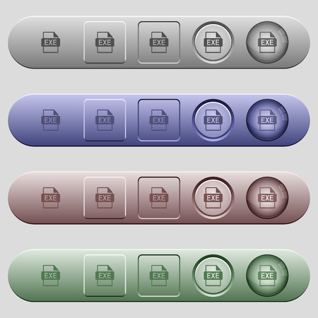 EXE file format icons on rounded horizontal menu bars in different colors and button styles