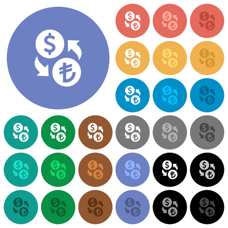 Dollar Lira money exchange multi colored flat icons on round backgrounds. Included white, light and dark icon variations for hover and active status effects, and bonus shades on black backgounds. Illustration