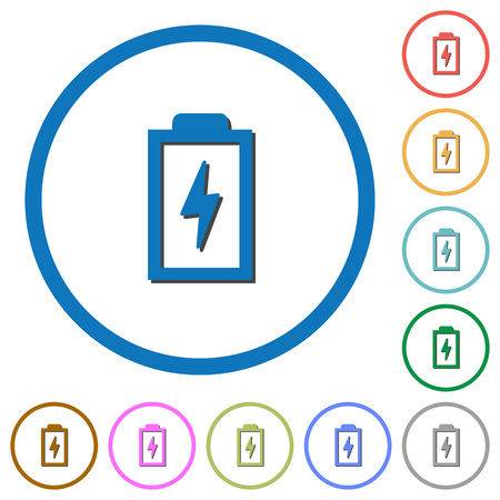 Battery with energy flat color vector icons with shadows in round outlines on white background