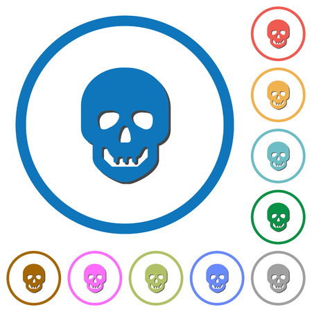 Human skull flat color vector icons with shadows in round outlines on white background Ilustracja