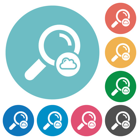 Cloud search flat white icons on round color backgrounds Illustration