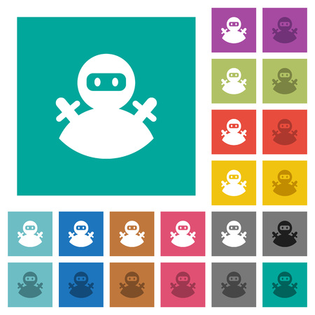 Ninja avatar multi colored flat icons on plain square backgrounds. Included white and darker icon variations for hover or active effects.