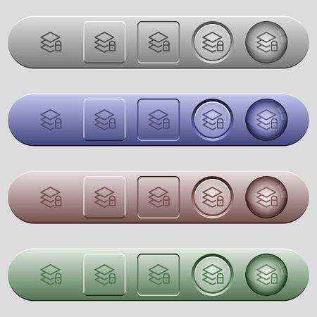 Locked layers icons on rounded horizontal menu bars in different colors and button styles