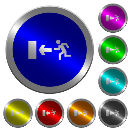 Exit sign icons on round luminous coin-like color steel buttons