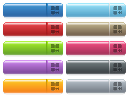 Component fast backward engraved style icons on long, rectangular, glossy color menu buttons. Available copyspaces for menu captions.