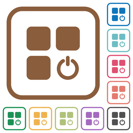 Component switch simple icons in color rounded square frames on white background