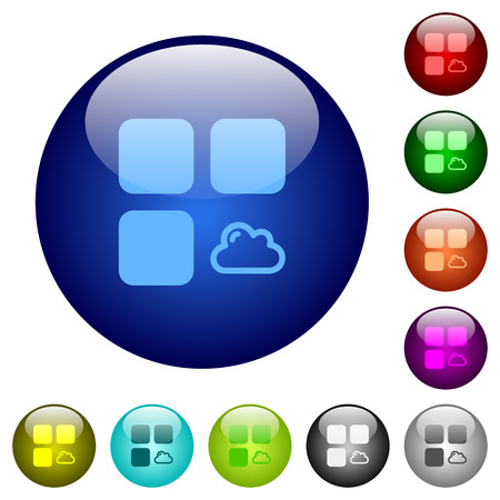 Cloud component icons on round color glass buttons