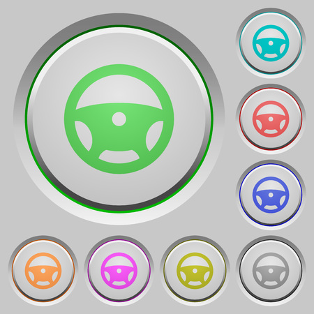 Steering wheel color icons on sunk push buttons