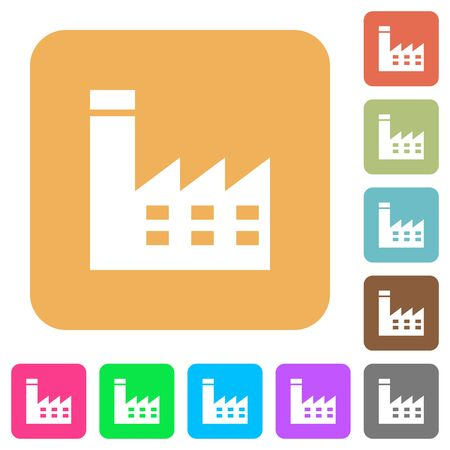 Factory building flat icons on rounded square vivid color backgrounds.