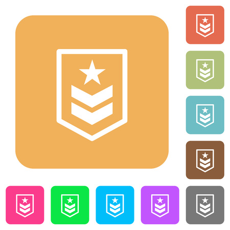 Military rank flat icons on rounded square vivid color backgrounds.