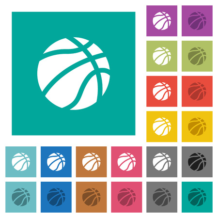 Basketball multi colored flat icons on plain square backgrounds. Included white and darker icon variations for hover or active effects.