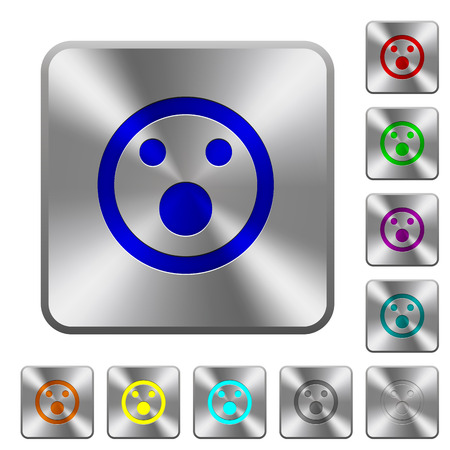 Shocked emoticon engraved icons on rounded square glossy steel buttons