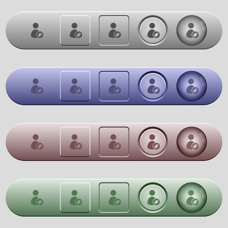 Tagging user icons on rounded horizontal menu bars in different colors and button styles