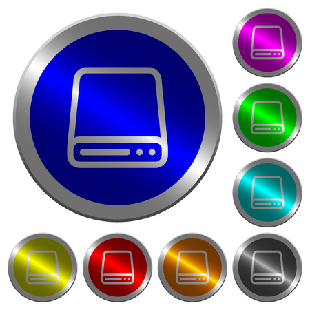 Hard disk drive icons on round luminous coin-like color steel buttons Illustration