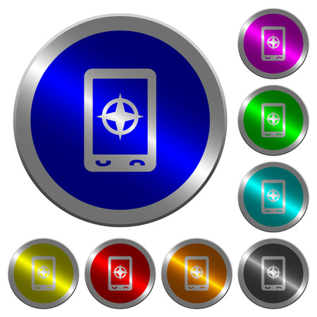 Mobile compass icons on round luminous coin-like color steel buttons Illustration