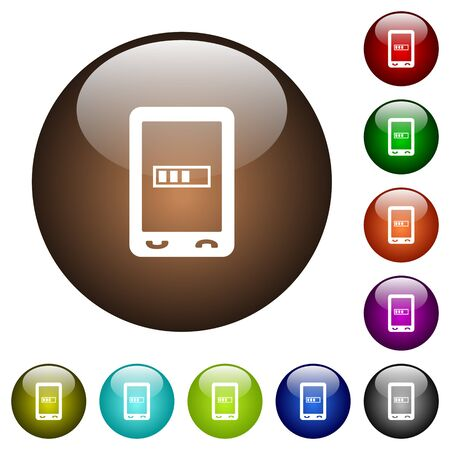 Mobile processing white icons on round color glass buttons Illustration