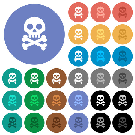 Skull with bones multi colored flat icons on round backgrounds. Included white, light and dark icon variations for hover and active status effects, and bonus shades on black backgounds.