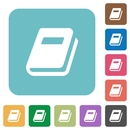 Personal diary white flat icons. Illustration