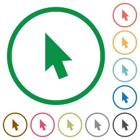 Muiscursor egale kleur pictogrammen in ronde contouren op witte achtergrond