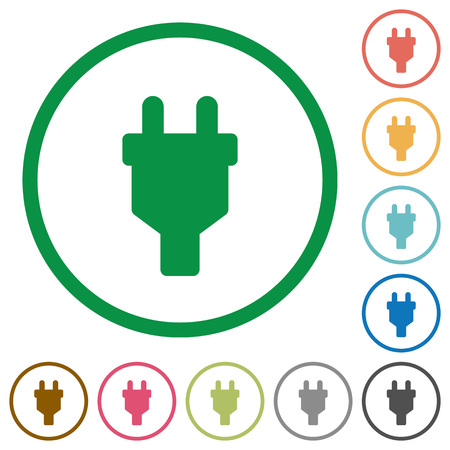 Power connector plug flat color icons in round outlines on white background Illustration