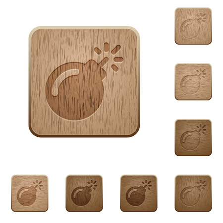 Bomb with sparkling fuse on rounded square carved wooden button styles Illustration