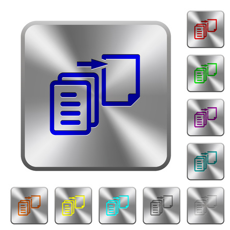 Move file engraved icons on rounded square glossy steel buttons Illustration