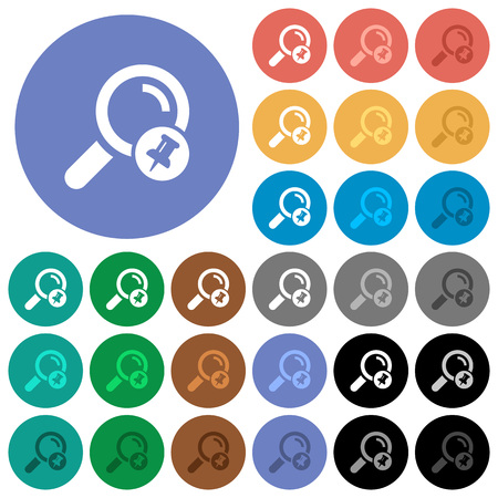 Pin search result multi colored flat icons on round backgrounds. Included white, light and dark icon variations for hover and active status effects, and bonus shades on black backgounds. Illustration