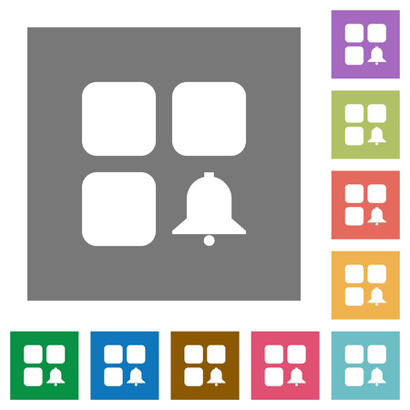 Component alert flat icons on simple color square backgrounds