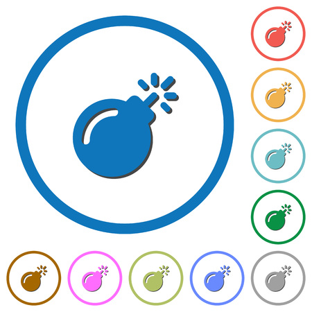 Bomb with sparkling fuse flat color vector icons with shadows in round outlines on white background Illustration